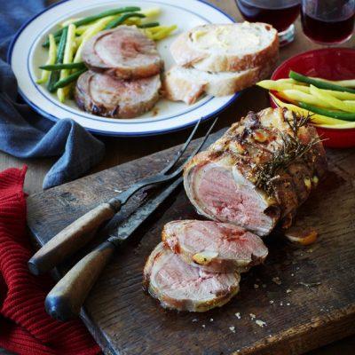 Boned And Rolled Lamb Loin Roast With Beans